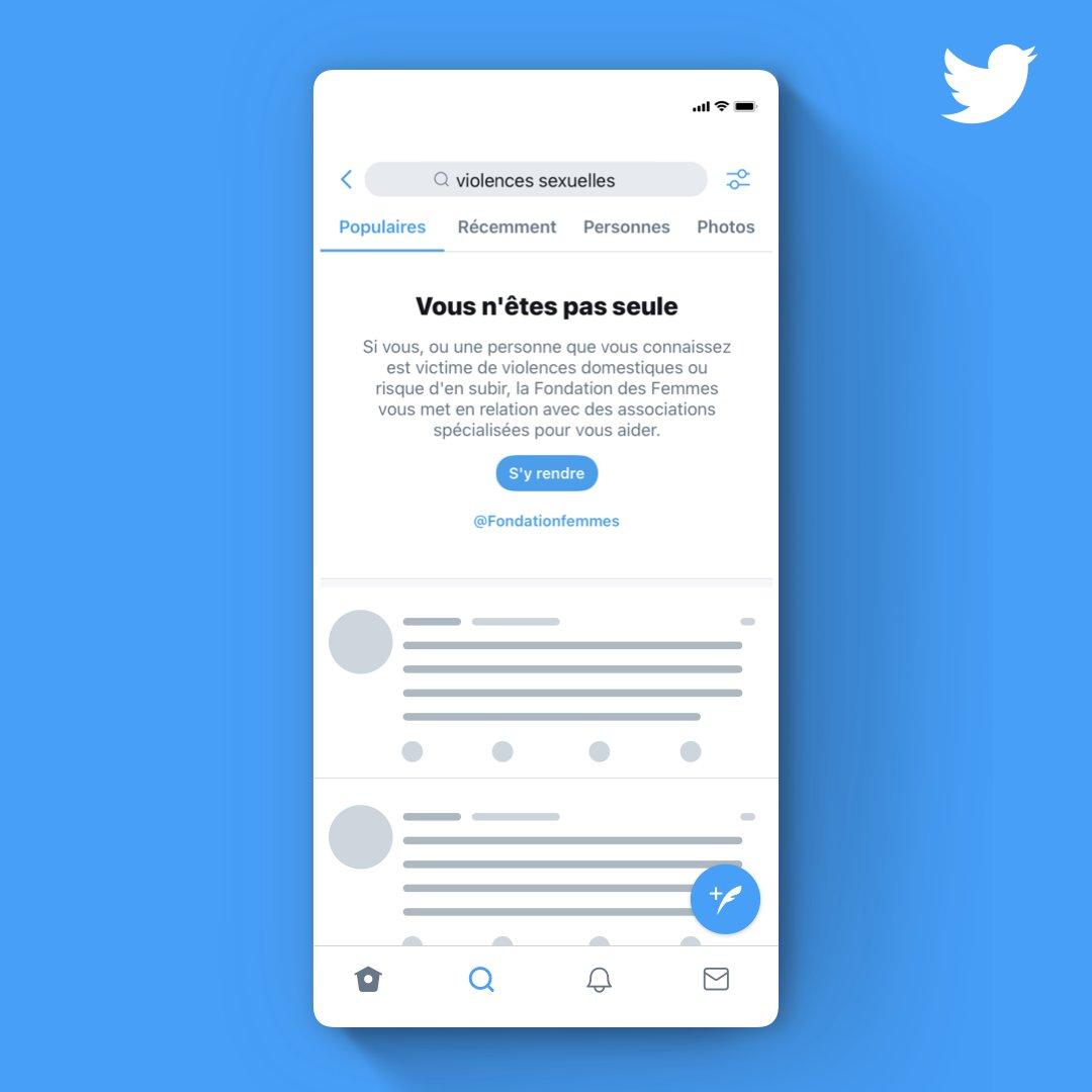À présent, si vous cherchez sur Twitter certains mots-clés associés aux violences faites aux femmes ou au harcèlement sexuel, un encart apparaîtra en haut des résultats de recherche pour orienter vers la page d'aide du site @Fondationfemmes👇