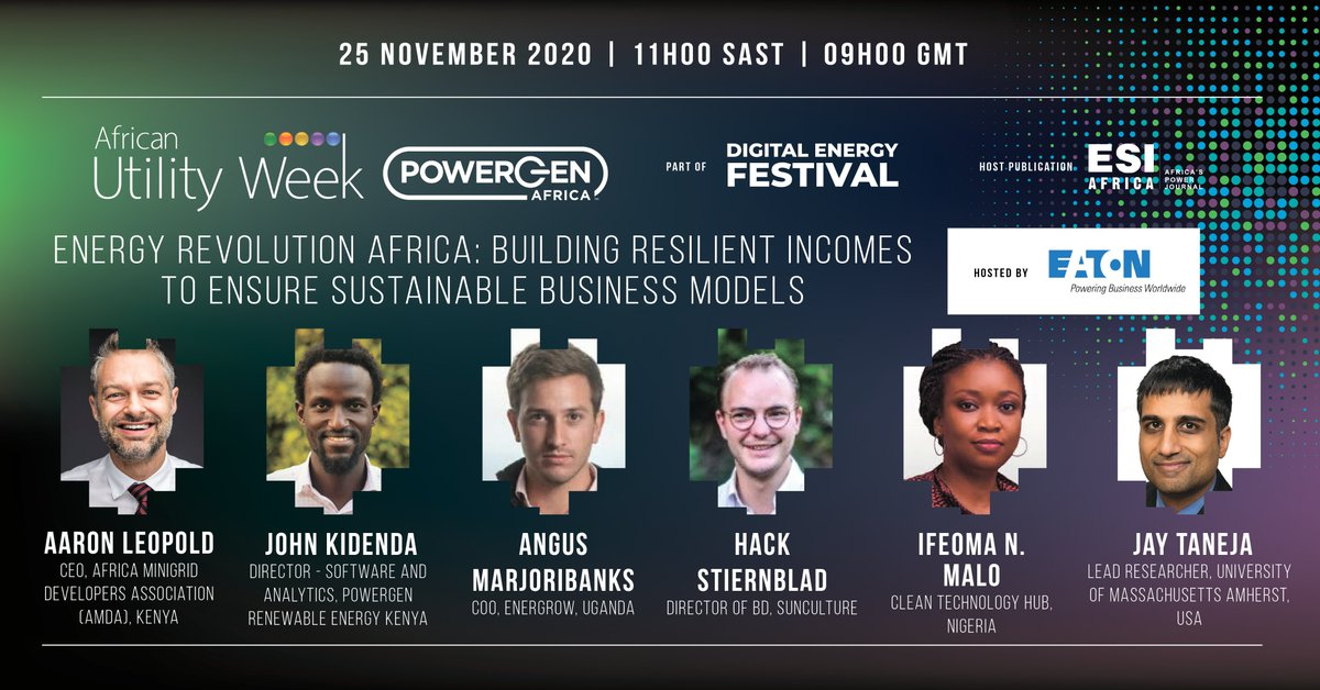 TODAY!👉Join panelists including our CEO @Aaro_Leo   @johnkidenda-@PowerGen_RE, Angus Marjoribanks-  @EnerGrowUG, Hack Stiernblad, SunCulture, Ifeoma Malo- @Cleantechhubng & Jay Taneja -@UMassAmherst as they discuss about the energy revolution in Africa.