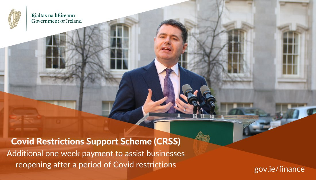 Announcing that under enhancement to Covid Restriction Support Scheme, businesses can claim for an additional one week payment - up to €5k - to assist them in reopening after a period of Covid restrictions. More here: https://t.co/mQZYhj3N9B https://t.co/NiYx7Hylrb