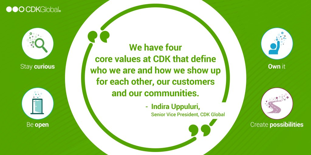 Indira Uppuluri, SVP, #CDKGlobal tells @BWBusinessworld about #CDKGlobal's four core values that define how we work for each other, our customers and our communities – Transparency, Responsibility, Curiosity and Creating possibilities. https://t.co/sKYd54hrv6 https://t.co/sza2GBlGNk