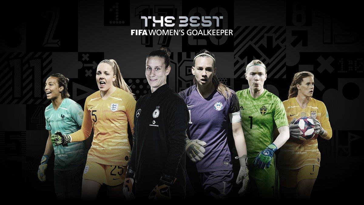 #TheBest FIFA Women's Goalkeeper 2020 nominees are:  @bergen_ann @BouhaddiSarah  @TIANEendler @hedvig_lindahl  @AlyssaNaeher @EllieRoebuck_  🗳️ VOTE NOW 👉   @DFB_Frauen | @LaRoja | @svenskfotboll | @USWNT | @Lionesses