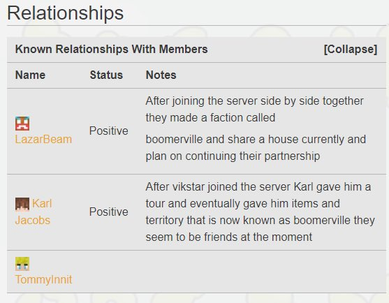LazarBeam - this is @Vikkstar123 known relationships on the server  you are nothing to him @tommyinnit