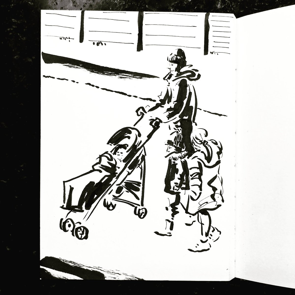 From the Inside 2, Day 21: #isolation study. Kitchen window. Passerby No 21 #isolationlife #stayathome #lockdown #lockdown2uk #sketchbook #sketch #drawing #draw #doodle #ink #inkdrawing #lineart #lifedrawing #figuredrawing #walk #artoftheday #art #artwork #artist #illustration https://t.co/5wNGYkJFVK