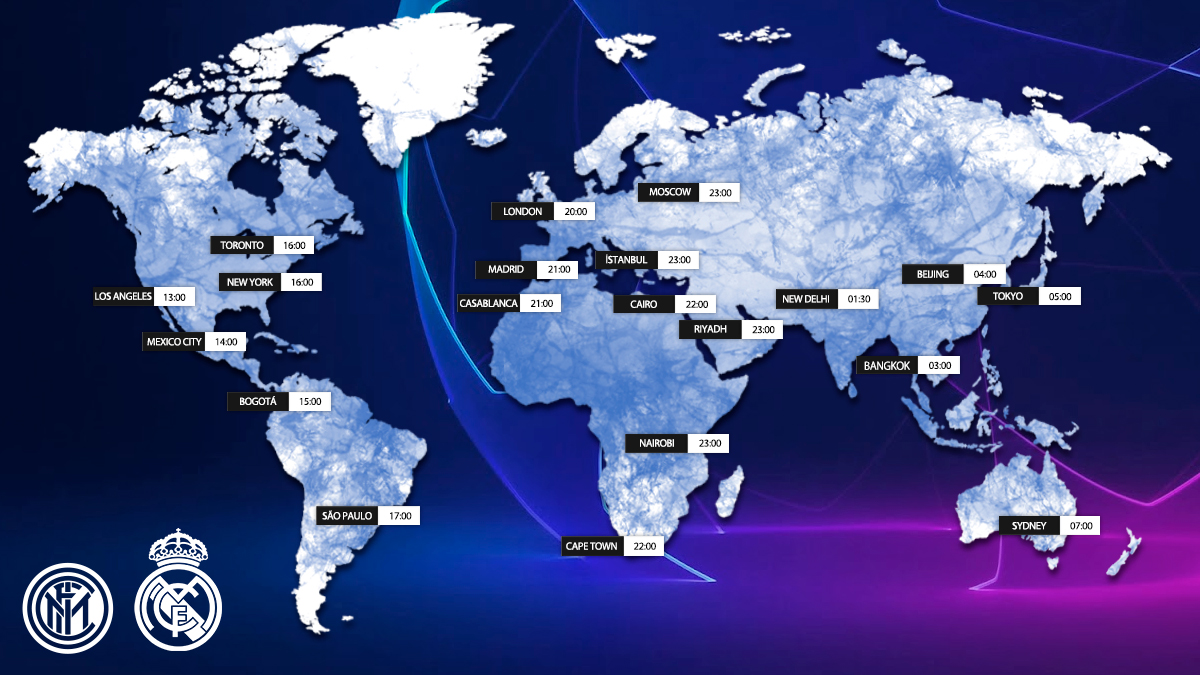 🗺️ Kick-off times around the world for tonight's match!  📍 Where in the world will YOU be watching our @ChampionsLeague clash against @Inter_en? 👇 Let us know below, #RMFans! 👇