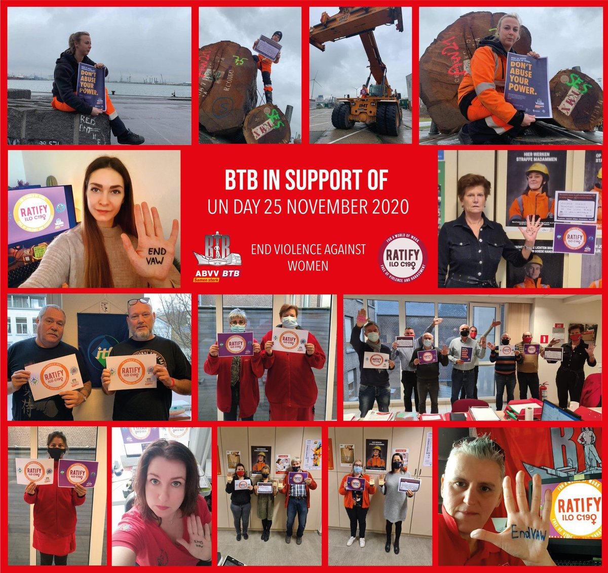 BTB in support of International Day for the Elimination of Violence against Women. Trade unions around the world are urging governments to ratify and implement the @ilo Convention to end gender-based violence and harassment in the world of work. #25Nov #UNDay #EndVAW #RatifyC190