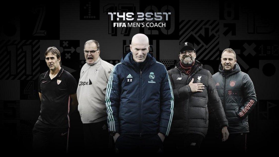 💥 OFICIAL | Los cinco candidatos al premio #TheBest como mejor entrenador  🇪🇸 Julen Lopetegui  🇫🇷 Zinedine Zidane  🇩🇪 Hans-Dieter Flick  🇦🇷 Marcelo Bielsa  🇩🇪 Jurgen Klopp