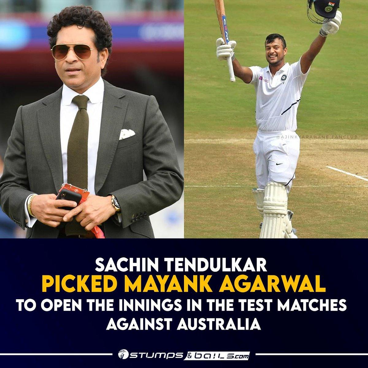 @sachin_rt pick's India's opener for the #Testseries  Follow us @stumpnbails #INDvsAUS #Indiancricketer #Indiatoaustralia #IndianCricketTeam #Indianteam #SachinTendulkar #MayankAgarwal #Indiatourofaustralia2020 #Indiatourofaustralia #Cricket #Cricketmatch #Cricketindia