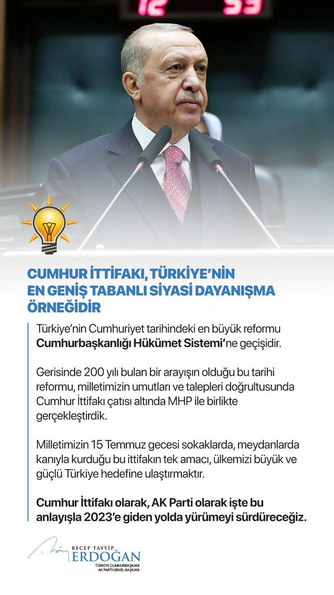 Türkiye'nin şu kritik dönemde en büyük ihtiyacı, yerli, milli, ilkeli, vicdanlı, ahlaklı, üretken, analitik siyaset ve bu şekilde hareket eden siyasetçilerdir.   Cumhur İttifakı olarak, @Akparti olarak işte bu anlayışla 2023'e giden yolda yürümeyi sürdüreceğiz.
