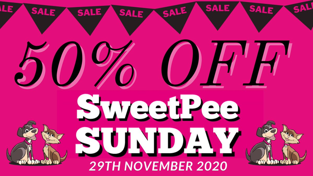 . Forget Black Friday....... forget Cyber Monday.....  SWEETPEE SUNDAY is where the real bargains are.  AND.....You're Invited!  When - Sunday 29th November 2020 Where - https://t.co/kgXLRC8TvN  Use code SUNDAY at the checkout  #dogs #cats #pets #Sunday #bargains #SweetPeeSunday https://t.co/Gtu7ehnIKB