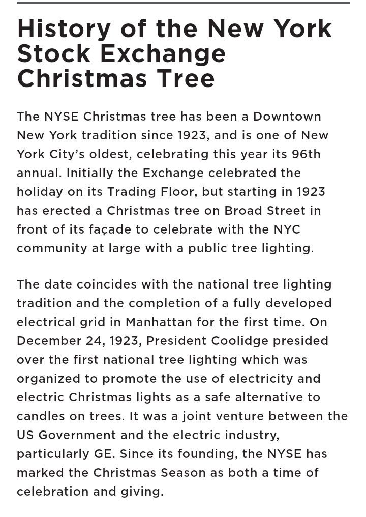 @ICE_Markets 97th Annual Tree 🎄 Lighting. @nyse Do it, Like The Rockefeller Center. Just Get it. @NewYorkFed @WWLawFirm @ny1 @CBSNewYork @EY_Tax @FDICgov @USOCC Authorized Signed by Titus Ra'meir Pierce,MBA $25 MM USD TO @NYSE for the 97th ANNUAL CHRISTMAS TREE & MENORAH. 1923 https://t.co/j4ldYVKEJp