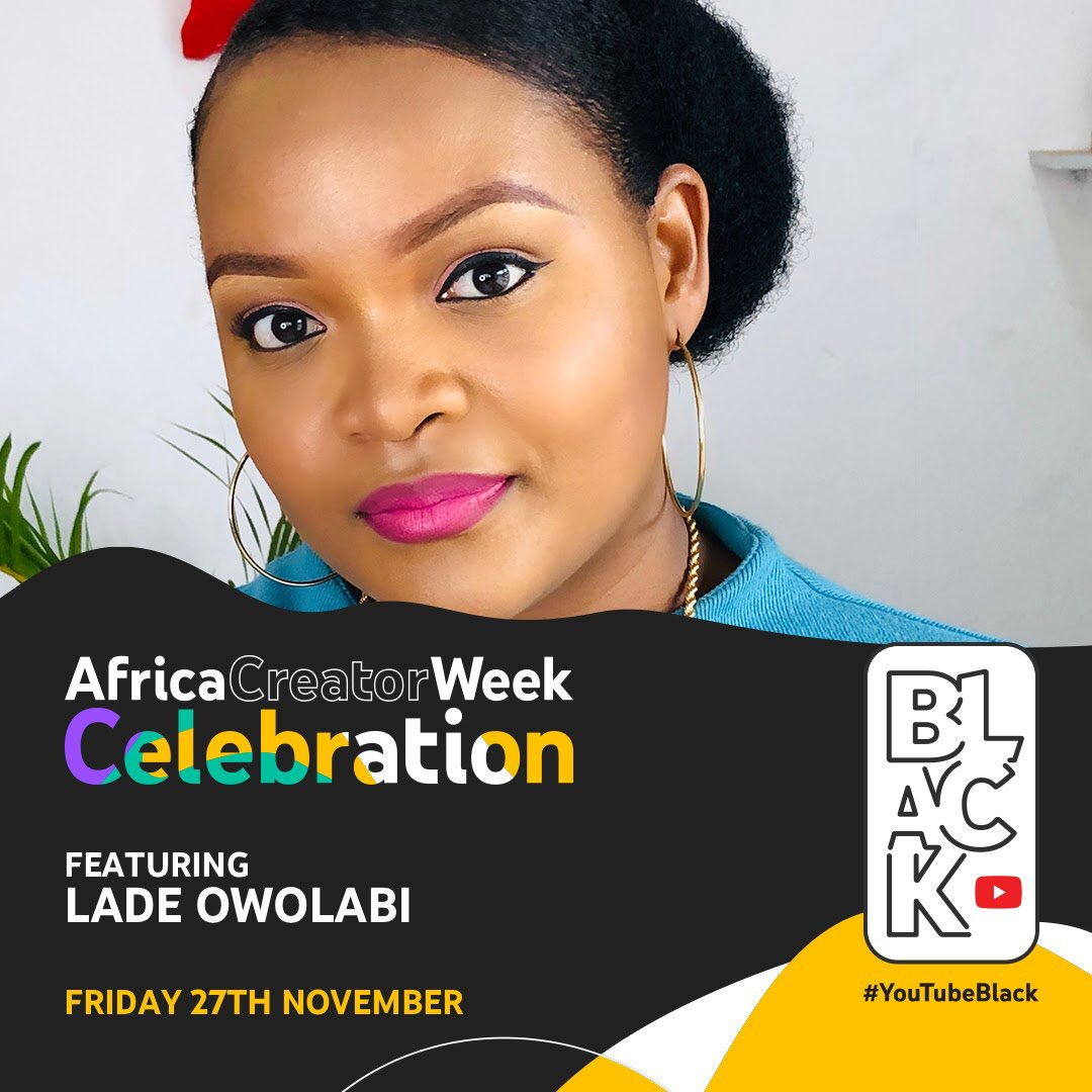 I'll be featuring at the YouTubeBlack Africa Creator Week Celebration! The virtual event is celebrating African creators and creativity. My fellow creators and I made a special show for you, so come join meon Friday, November 27 at 5pm GMT. Make sure you tune in!#YTBAfrica https://t.co/Eng38lB3Pq