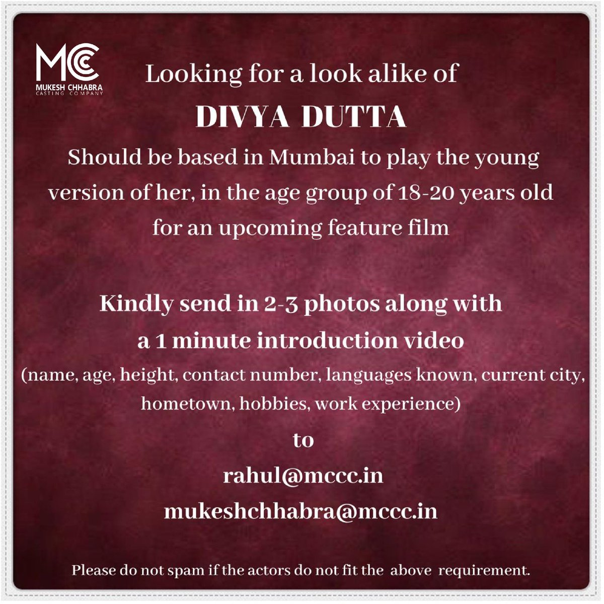 Casting Call 📯 Looking for look alike of Divya Dutta for an upcoming project in the age group of 18-20 years old, to play the young version of her. Should be based in Mumbai.