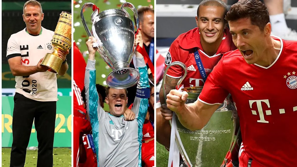 Four of our treble-winners have been nominated for The Best FIFA Football Awards! 🏆  ⚽ Best Player: @lewy_official & @Thiago6 🧤 Best Goalkeeper: @Manuel_Neuer 🗣 Best Coach: Hansi #Flick  Congrats, guys! 👏  #MiaSanMia