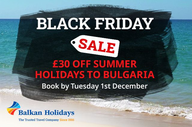 The Balkan Holidays Black Friday Sale is here and it's a cracker! Get £30 per adult OFF all summer 2021 holidays to Bulgaria 🇧🇬 when you book by Tuesday, 1 December 2020 and use the code BLK30.  Book now 👉 https://t.co/NJgXYYVKdk  #FlyNorwich https://t.co/y9pX7menC1