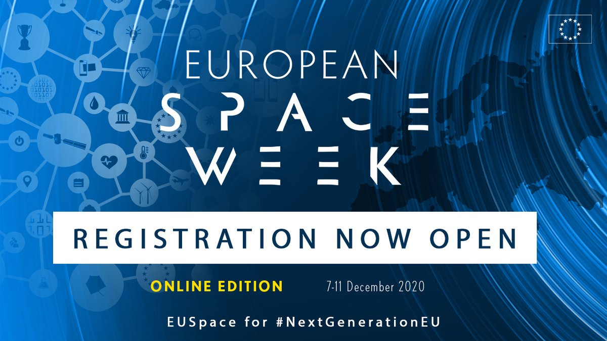 It's official - the registration to the #EUSpaceWeek 2020 is now open🚀! This year, we will bring the #EUSpace Programme -#Copernicus, #EGNOS & #Galileo🛰️🇪🇺- to your homes with a virtual 5-day event! Head to  & meet us 7-11 Dec! #NextGenerationEU #EU2020DE