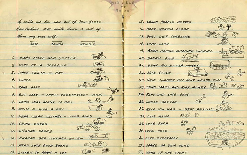 """11. Change socks.  ""27. Help Win War - Beat Fascism.""  Woody Guthrie's New Years resolutions, 1943."