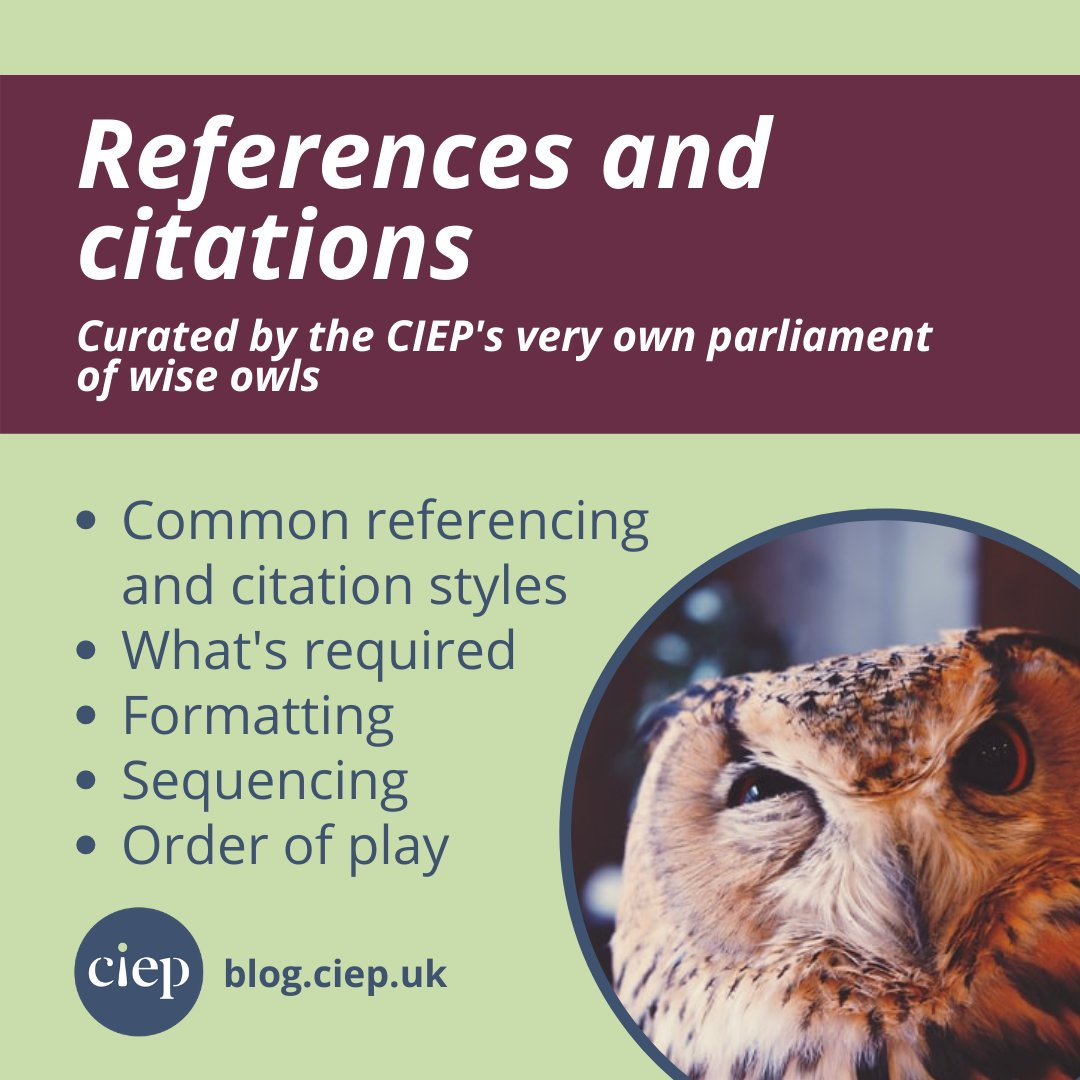 NEW ON THE CIEP BLOG: 🦉 Our Wise Owls reflect on common reference and citation styles, and the issues they come across when working with them. Read it now. 👉 j.mp/3q1fjcP