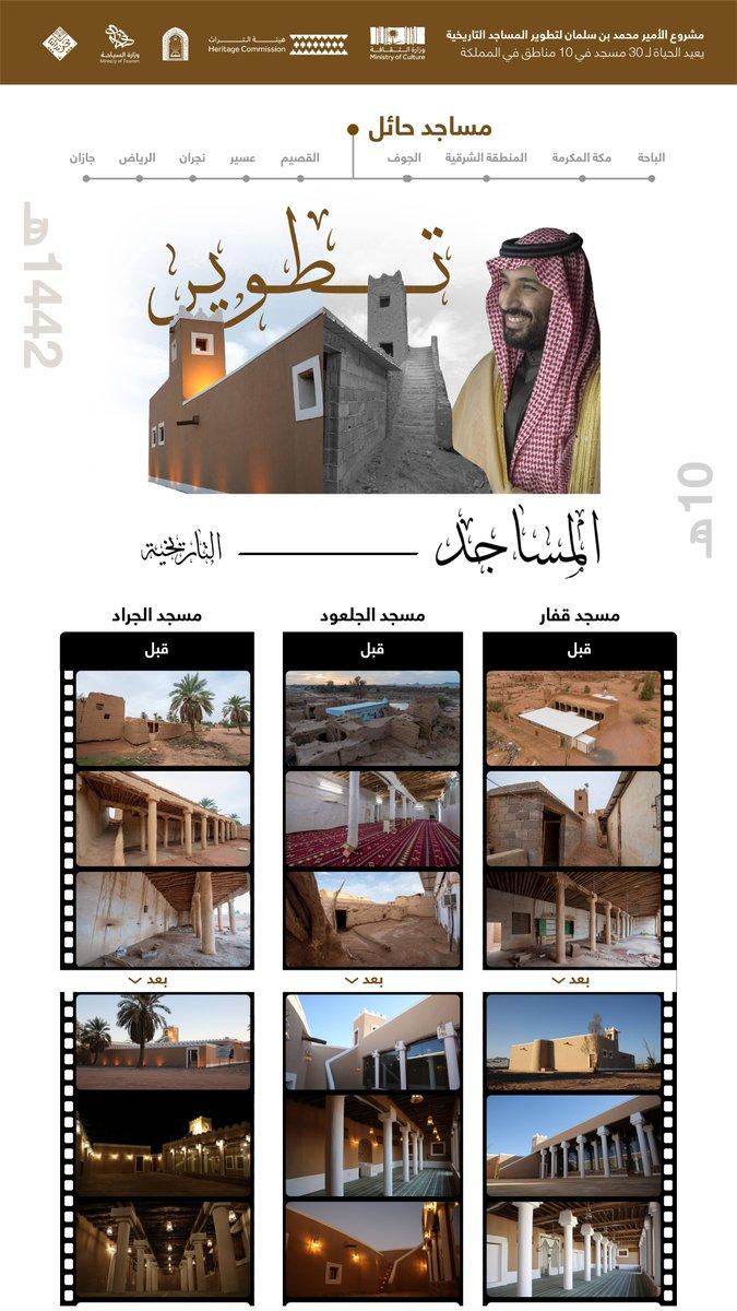 #السعودية | مشروع سمو #ولي_العهد لتطوير المساجد التاريخية .. الانتهاء من مساجد #حائل: قفار ،الجلعود، الجراد. #ولي_العهد_يجدد_مساجد_تاريخية