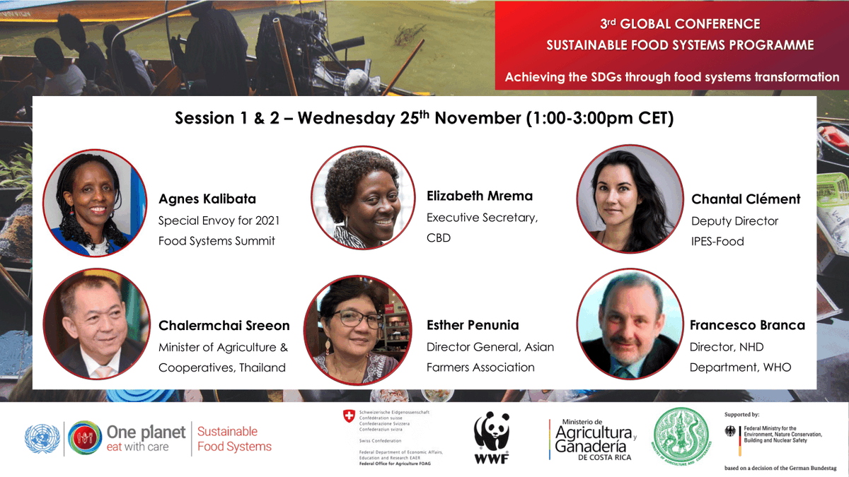 Watch Special Envoy @Agnes_Kalibata today as she joins other leaders at the 3rd Global @SFoodSystems Conference to discuss how to achieve #SustainableFoodSystems via inclusive collaboration!  📅 Nov 25-Dec 3  🕐 1pm CET 💬 #SFSPConference ✍️ Register here: