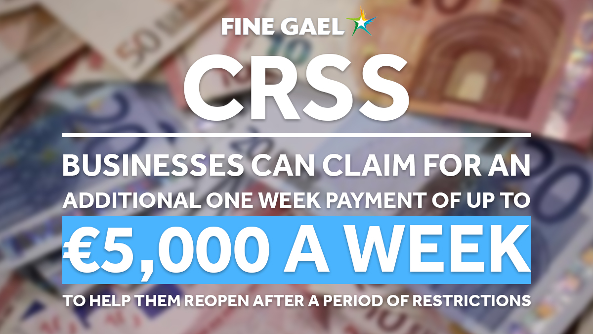 👨💼🧑💼🏬 Finance Minister @paschald has announced that businesses can claim an additional one week payment of up to €5,000-a-week to help them to reopen and stay afloat.  Find out more: https://t.co/wCgLjpxaGV https://t.co/ybC0UAyrKt