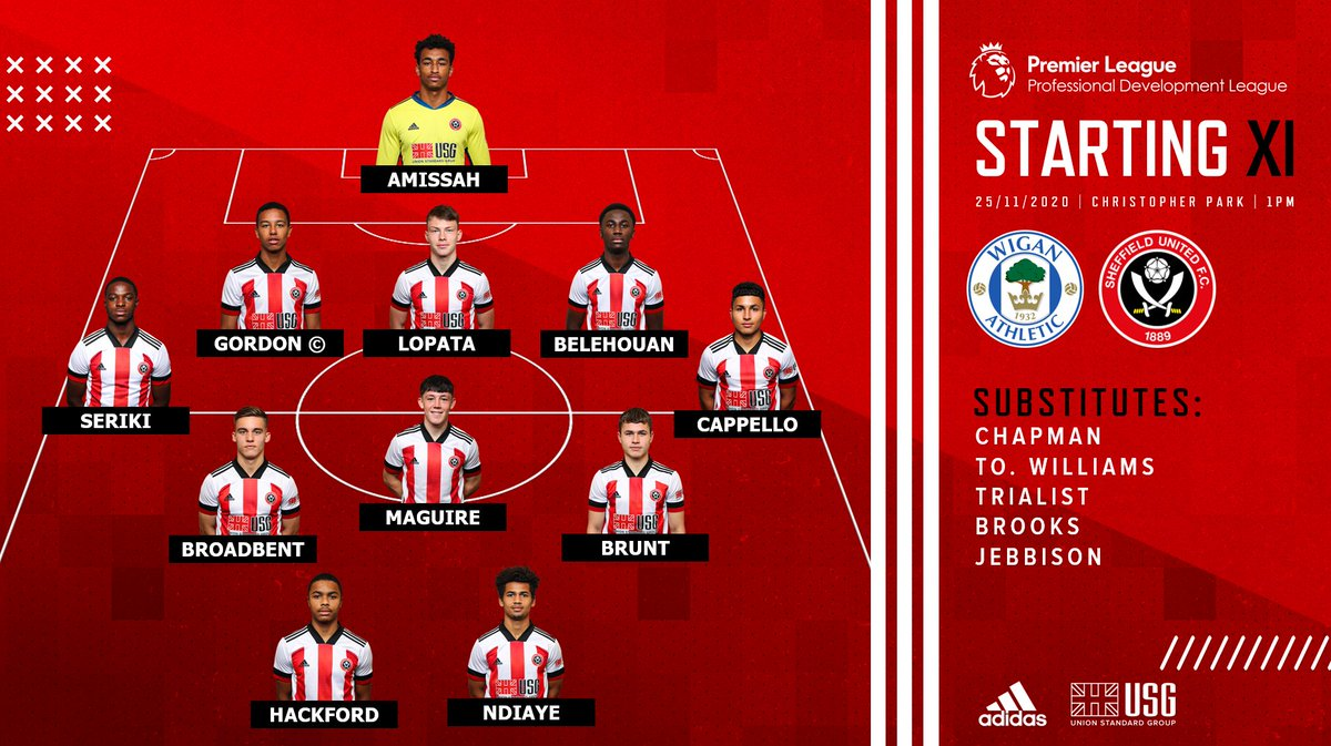 ⚔️ TEAM NEWS ⚔️  Here's how the Blades line up for this afternoon's clash with Wigan Athletic.   #SUFC 🔴