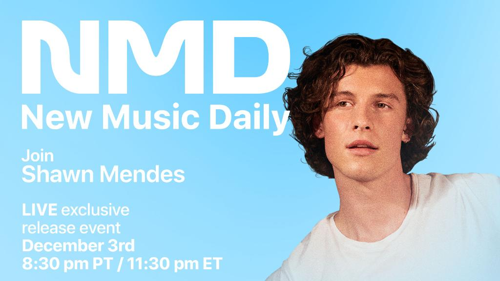 Get ready for #NewMusicDaily Presents @ShawnMendes.  Sign up for a chance to chat with Shawn next Thursday at 8:30PM PT as you hear songs from #WONDER & ask questions live.  Reserve your spot (US only):