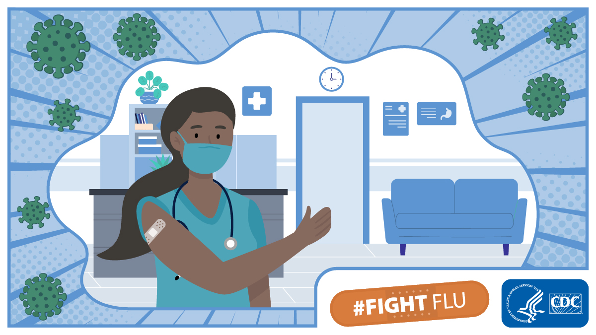 #Healthcare workers: make sure you protect yourself and your patients. Get a #flu vaccine. Remember it takes about two weeks after vaccination for antibodies to develop in the body and provide protection against flu. #SleeveUp #FightFlu