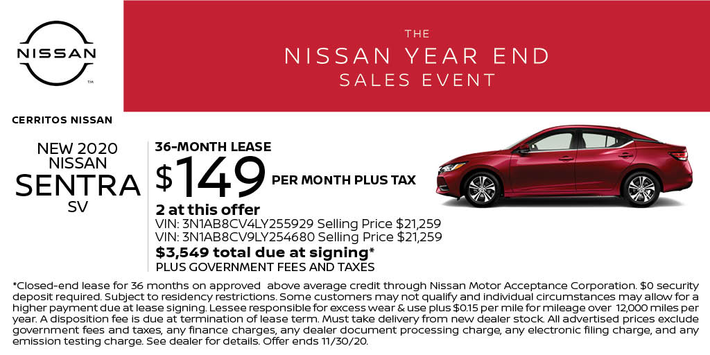 Lease a New 2020 Nissan Sentra SV for just $149 per month at Cerritos Nissan! Start shopping online here: https://t.co/Q35E5gq4uh https://t.co/JR4ULiSvXL
