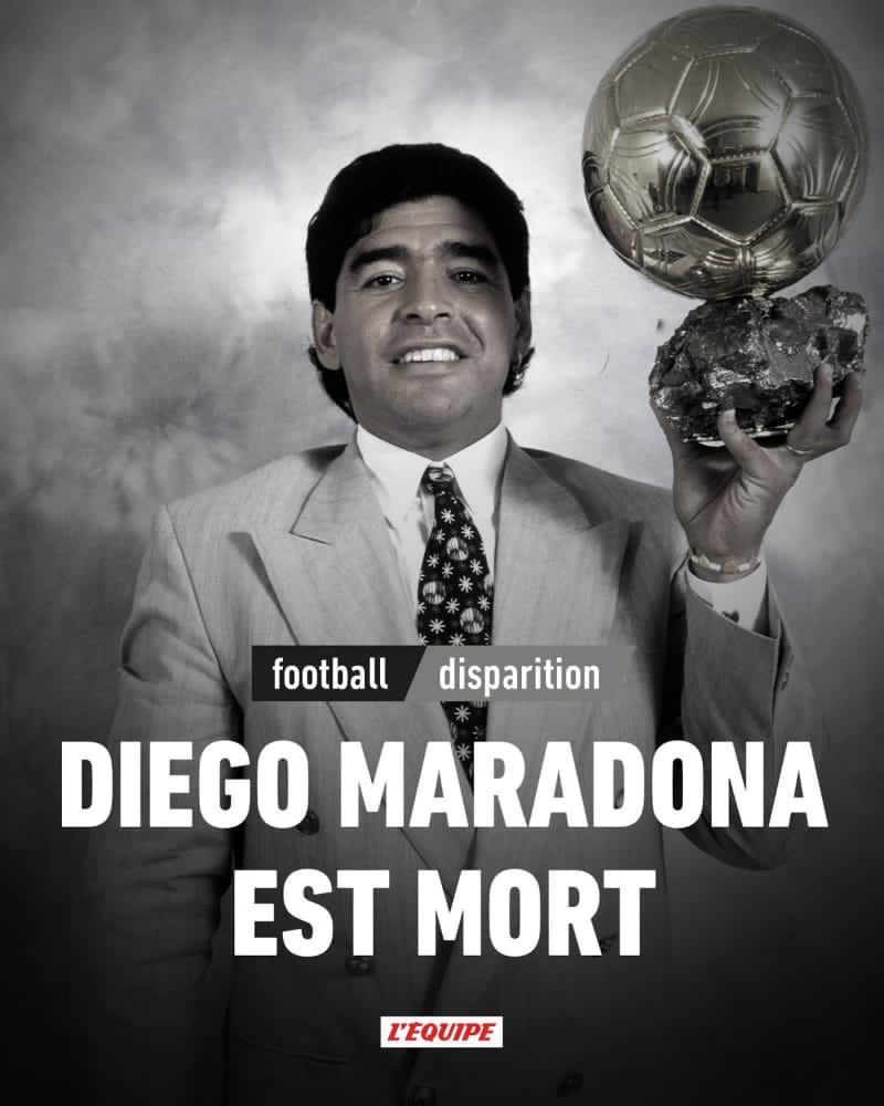 Diego Maradona, gloire du football Argentin, et légende du football est décédé ce mercredi 25 novembre 2020 à l'âge de 60 ans suite à un arrêt cardiaque... #NapoliMilan #Football #FIFA