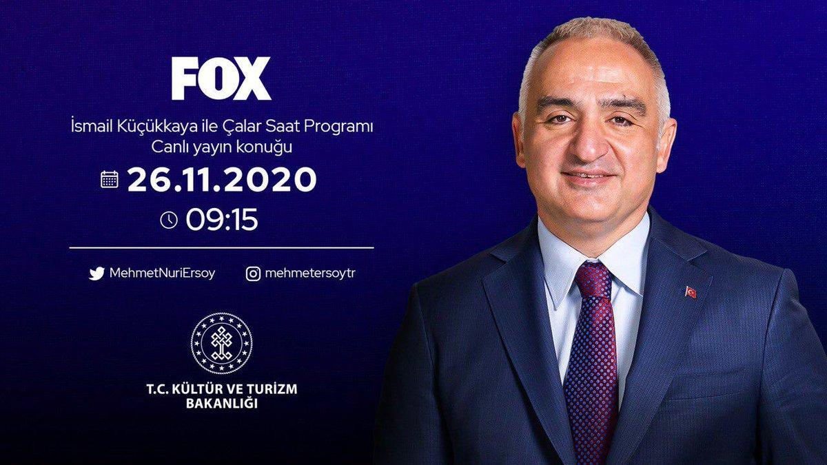 Türkiye'nin kültür ve turizm gündemini değerlendirmek üzere @KucukkayaIsmail'in #ÇalarSaat programına konuk olacağım.   📡 @FOXTurkiye
