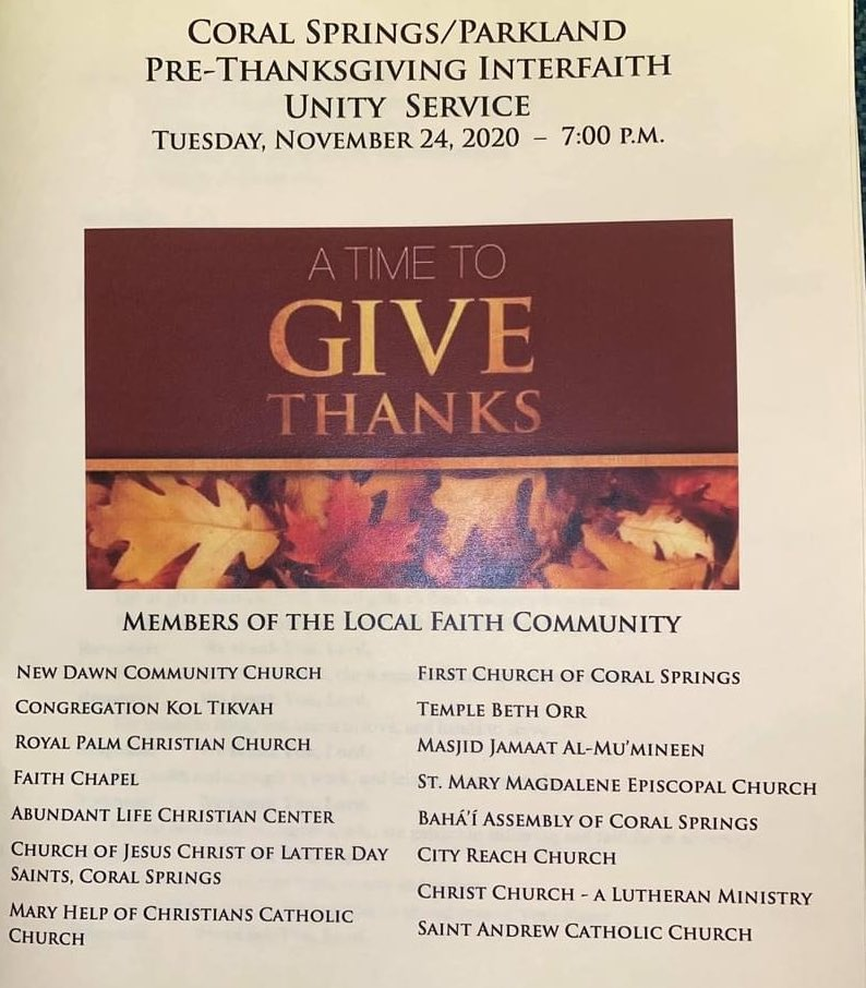 One of my favorite events of the year is our local Pre-Thanksgiving Interfaith Unity Service. As our nation and communities feel more divided, refocusing on our shared humanity is more important than ever before. So grateful for this annual service and powerful reminder.