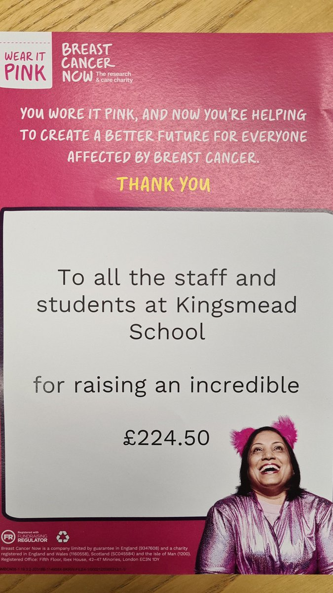 Thank you to everyone at Kingsmead who took park in #WearItPink for @BreastCancerNow, an amazing amount of money raised! #BreastCancerAwarenessMonth