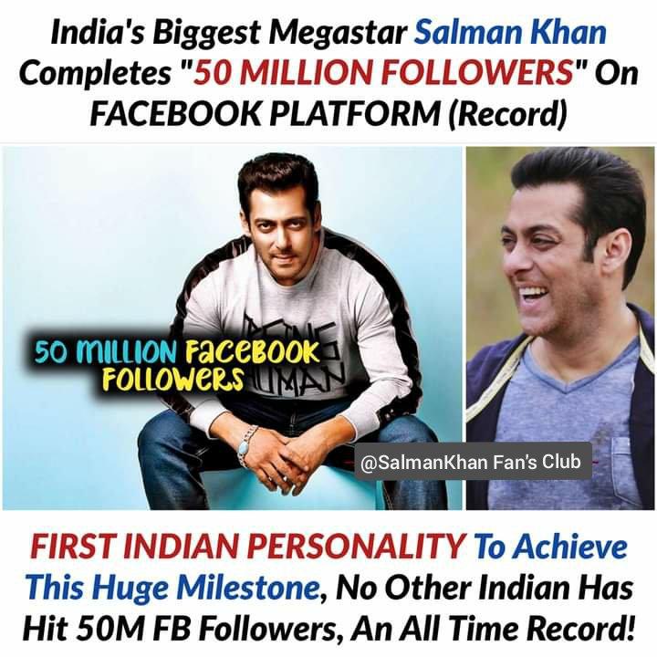 "☆☆-""India's Biggest #Megastar #SalmanKhan Completes""50 MILLION FOLLOWERS"" On FACEBOOK PLATFORM[Record] :-:: #Follow @SalmanKhan Fan's Club  Like Share Follow For Daily Updates. @SalmanKhan Fan's Club ✌️✌️✌️ :-:: #Radhe #TiGER3 #Kick2 🔥🔥🔥"