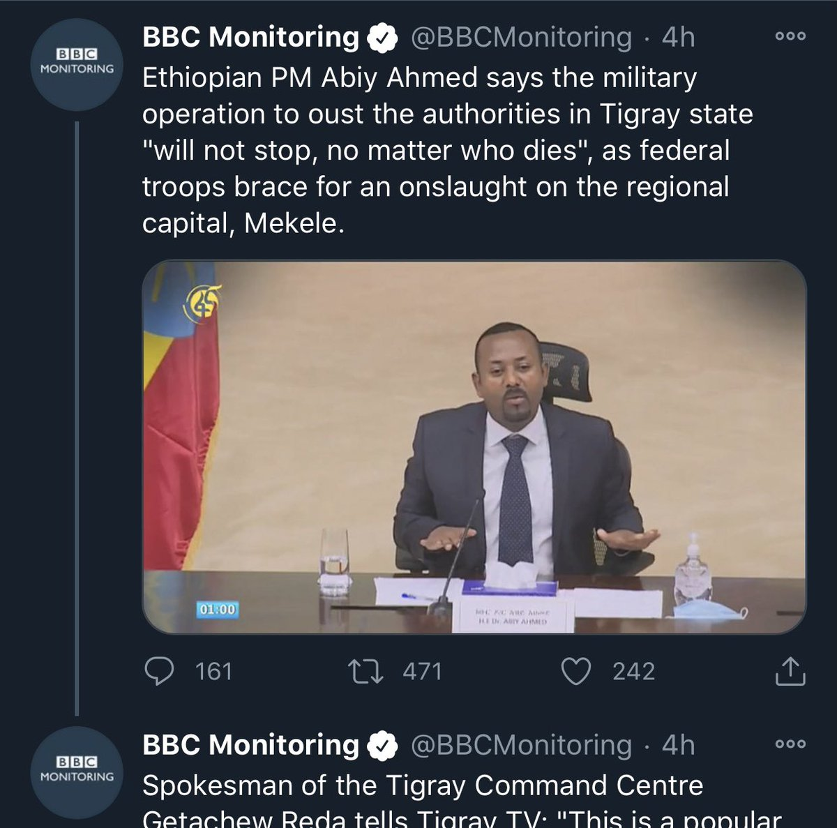 We would like to alert all that PM @AbiyAhmedAli has never said these quoted words and hold @BBCMonitoring responsible for spreading disinformation. The tweet has been deleted 4 hours after spreading something that was never said. @BBCWorld https://t.co/VPVeVQZRRg