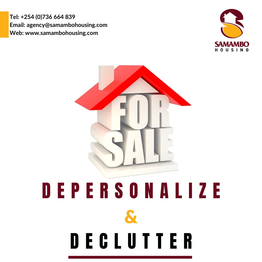 You want to show off how great the space and architecture of the house is, not the contents. Decluttering also gives an allure of spaciousness.    #samambohousing #letsgetreal #nairobi #realestate #deals #WednesdayWisdom #realestatetips