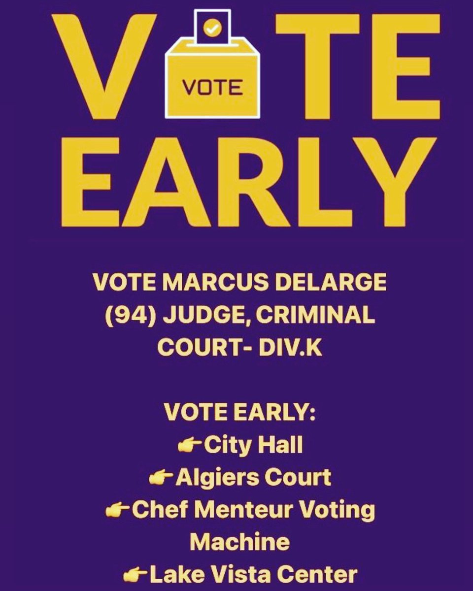 VOTE EARLY! Today is the final day to vote early before Thanksgiving. Polls are open from 8:30am-6pm. Exercise your right to vote today!  REMAINING EARLY VOTING DATES: 👉November 25th, Wednesday  👉November 28th, Saturday   #Vote #DeLargeForJudge #MarcusDeLarge #CriminalCourt