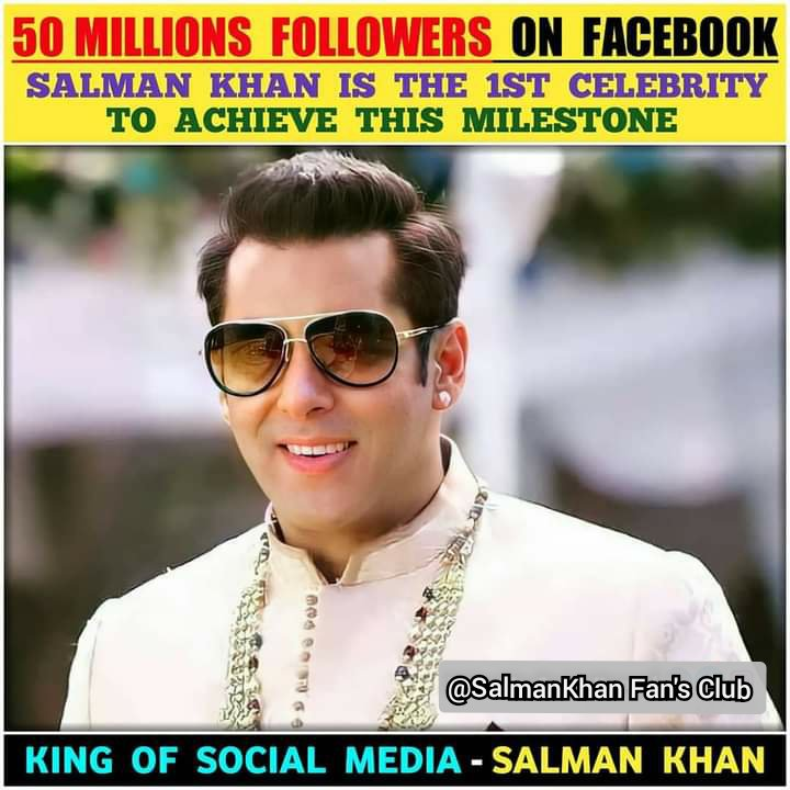 "☆☆-""#Megastar #SALMAN KHAN Complete 50M #Followers On #Facebook 🙌 🤔😏😉😳🥰  ::-: & @BeingSalmanKhan Is The 1st Celebrity To Achieve This Milestone  ::-: #Sallu #BhaiJaan #Salman_Sir 💖 #Radhe #TiGER3 #Kick2 🔥🔥🔥 #BiggBoss14 #BB14 #BiggBoss2020"