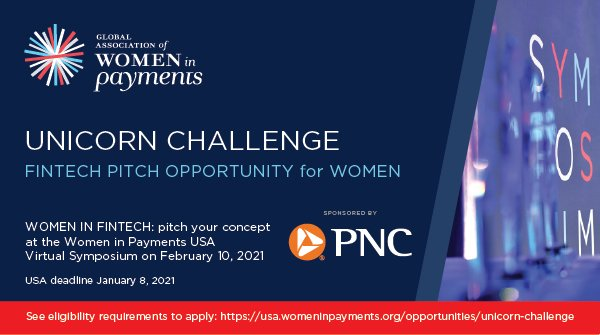 PNC is proud to sponsor the @WomeninPayments Unicorn Challenge, an opportunity for women in fintech start-ups to pitch to a panel of industry-leaders and an audience of payments professionals. Apply by Friday, January 8th: https://t.co/435gBsGs47 https://t.co/2k2DiUYjqJ