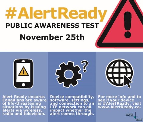 test Twitter Media - Are you #AlertReady? A test of the public alert system will occur today. Alert Ready delivers critical and potentially life-saving alerts to Canadians. Learn more at https://t.co/Dhj5aD3ObI  #CdnWireless https://t.co/dEi6h1hGpR