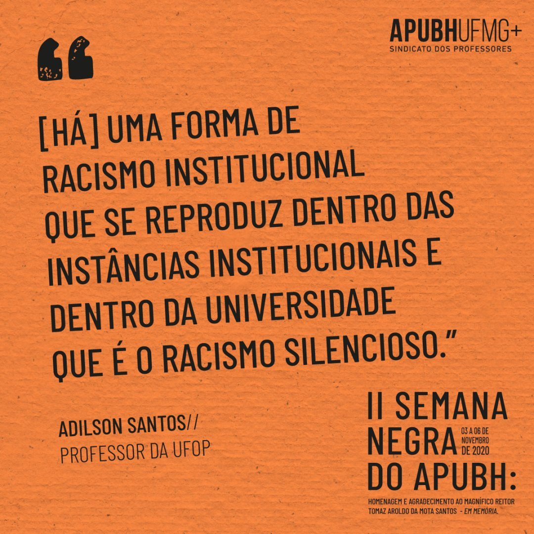 Confira a fala completa de Adilson Santos, professor da UFOP, em:   #diadaconsciencianegra #novembronegro #novembronegroufmg #20denovembro
