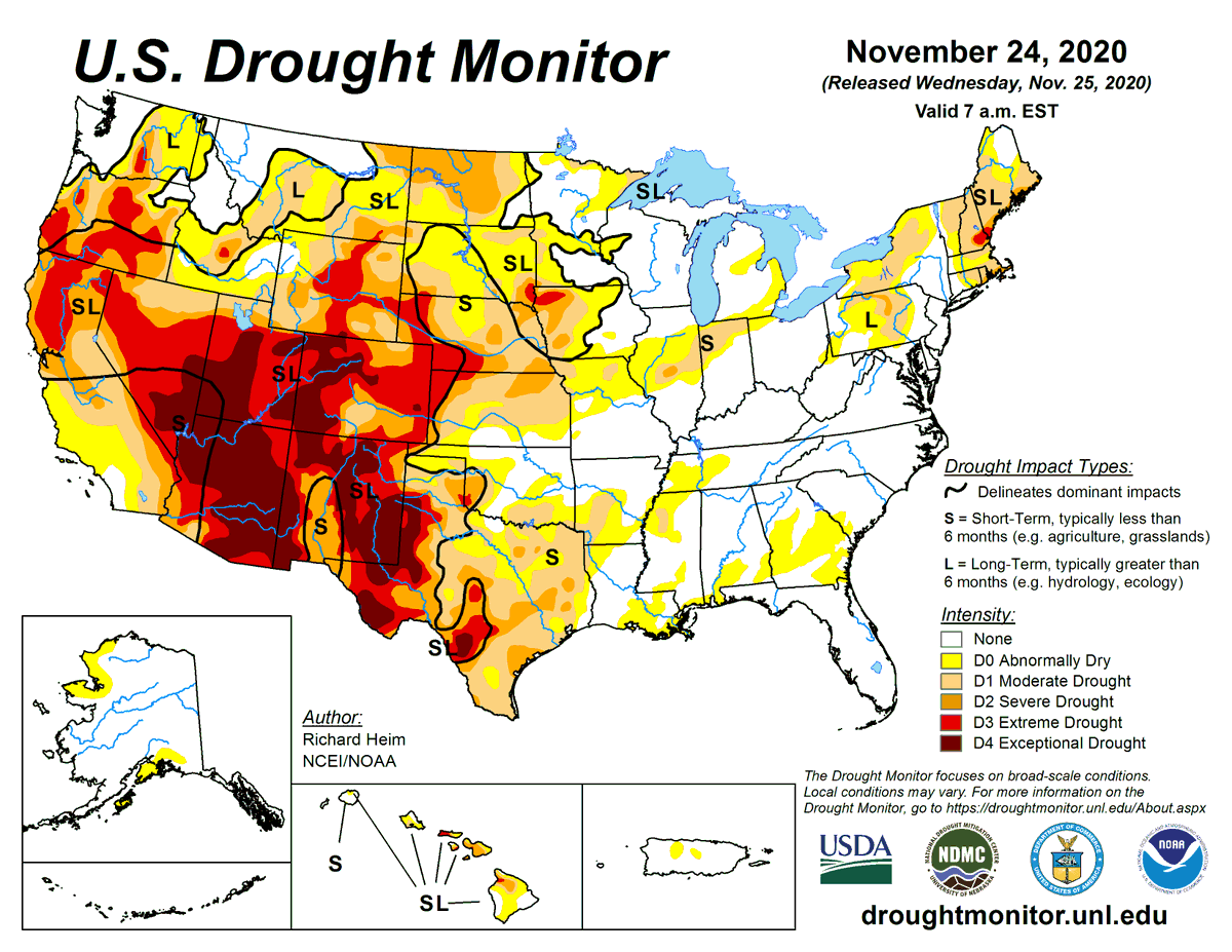 #DroughtMonitor 11/24: Parts of the northern/central US saw precip in the last week, while the southern US was mostly dry.  Much is the Southwest is now in Exceptional Drought (D4), the highest level.  #Drought2020's Footprint: 40.7% of the US  See  @NOAA