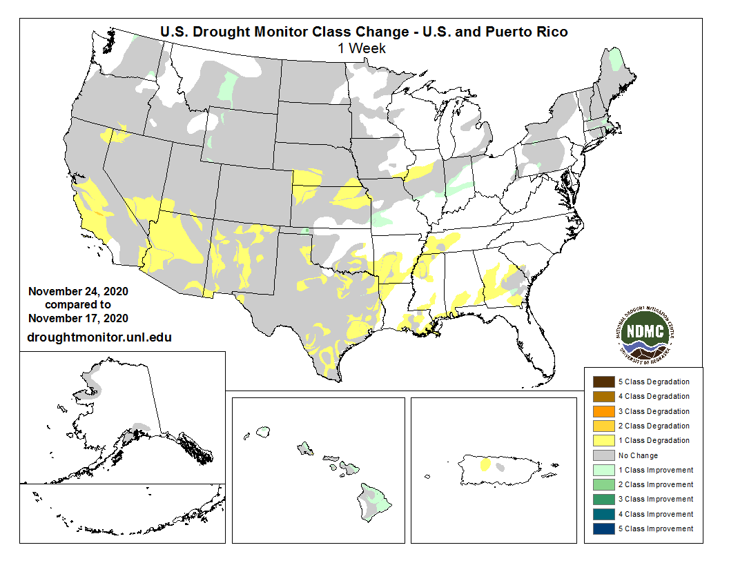 #DroughtMonitor 11/24: Another week. Same story.  Small improvements in the Northwest, Northeast, parts of the Midwest, and HI in this week's change map while conditions continue to deteriorate for the rest of the USA.  See  @NOAA