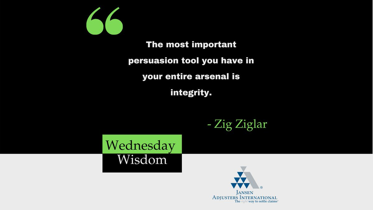 """2020 has been a challenging year for many business owners.  Yet the saying remains true.  """"The most important persuasion tool you have in your entire arsenal is integrity."""" - Zig Ziglar  #wednesdaywisdom"""