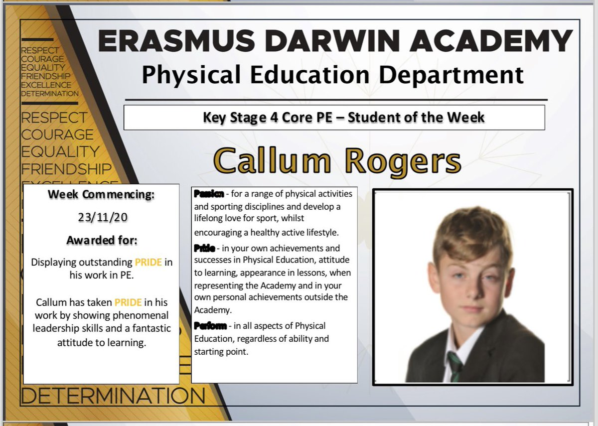 Well done to this young man. Excellent achievement Callum. We are very proud of you #weareEDA #ProudtobeEDA