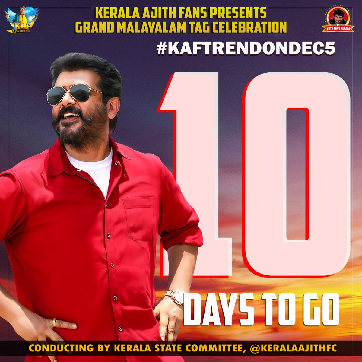 Releasing Today's Count Down Poster  👉Just 10 More days to Go  👉Stay calm before the Storm, Dec5   Get ready for the never before seen Malayalam tag Celebration, Expecting Participation from Everyone for this Mega Venture 💥  @KeralaAjithFC @AfcKerala  #Valimai #KAFTrendOnDec5