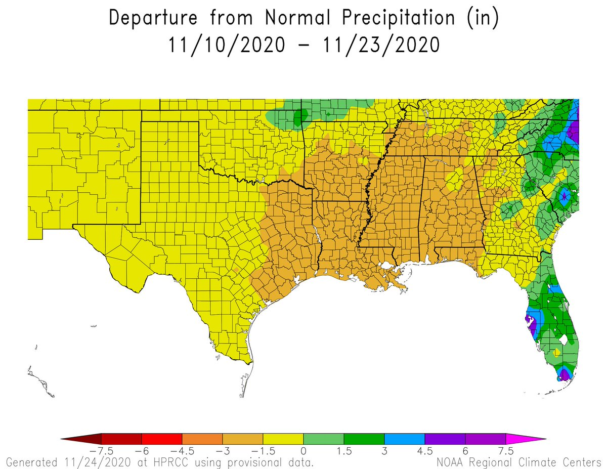 #DroughtMonitor 11/24: A large area in the South/Southeast has dried out in the last couple weeks as La Nina takes hold.  This is reflected with the increasing Abnormal Dryness (D0) and even #drought in LA, MS, and AR.   However, rain is on the way.   @NOAA