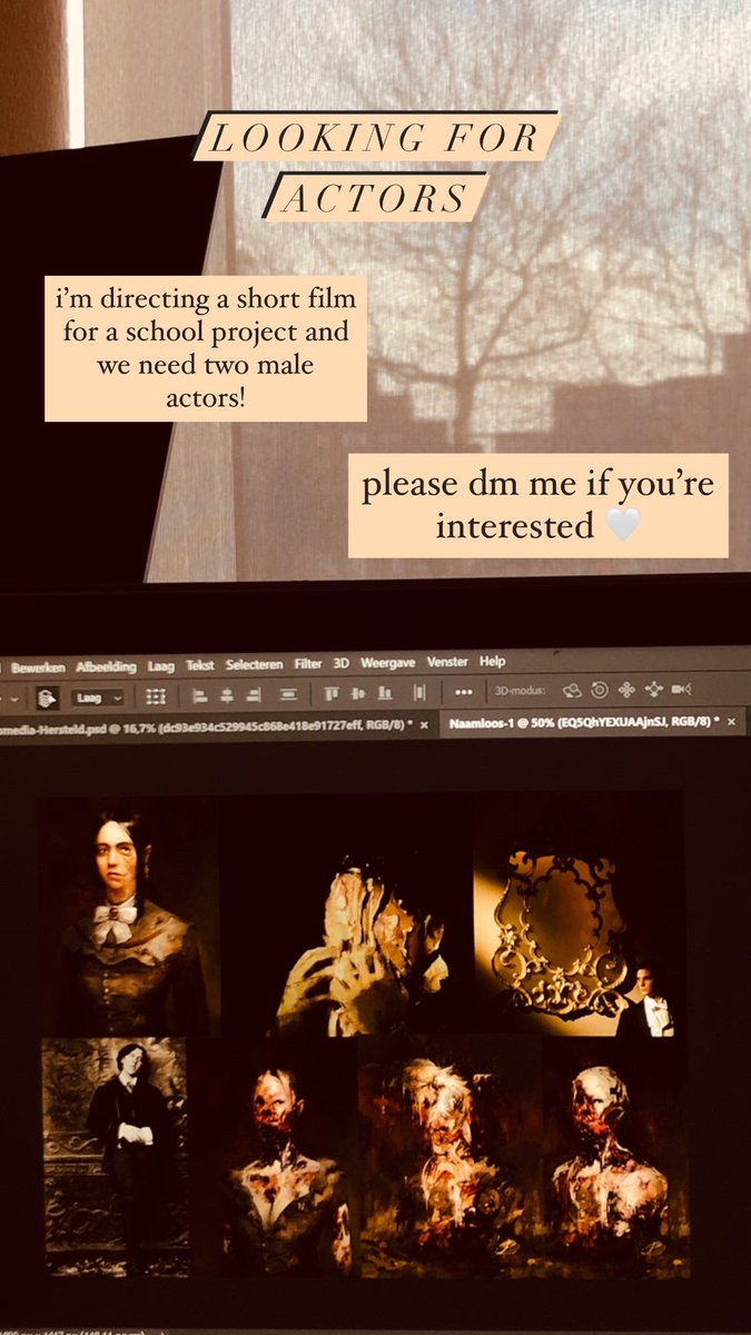 LOOKING FOR ACTORS — i'm directing a short film for a school project and we need two male actors! please dm me if you're interested 🤍