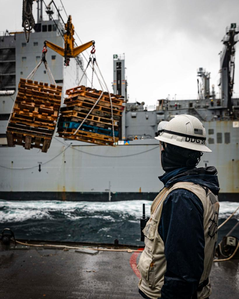 Hard at work ensuring a #FreeAndOpenIndoPacific. The #USNavy Arleigh Burke-class guided-missile destroyer USS John S. McCain conducts a replenishment-at-sea with the Lewis and Clark-class dry cargo and ammunition ship #USNSCharlesDrew while operating in the Sea of Japan.