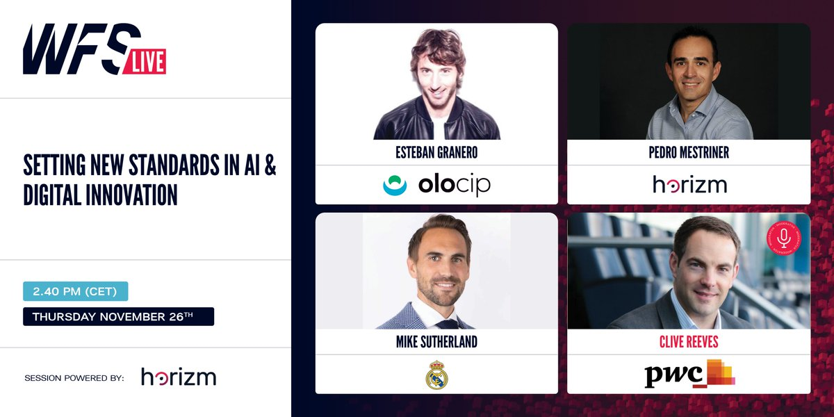🗓️Tomorrow, 2.40 pm, at @WFSummit   🗣️The session will showcase the new standards in digital innovation being set by @realmadrid and how innovators like #Horizm and #Olocip are using #AI to help clubs transform their data into knowledge and make better decisions to drive revenues