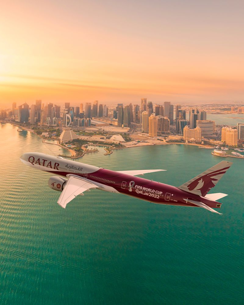 Qatar Airways is celebrating #2YearsToGo milestone with their newly-unveiled #QatarAirways FIFA World Cup Qatar 2022™️ Boeing 777 aircraft which will be used across their global network. @qatarairways @FIFAcom @corritravels  #qatarairways #holidays2022 #corritravels